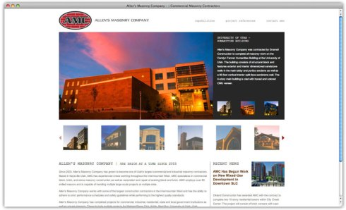 Screen Shot of allensmasonry.com home page + project gallery.